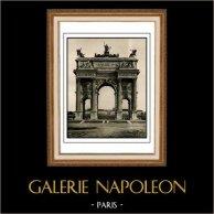 Arco della Pace in Milano - Architetto Luigi Cagnola - Spinta di Napoleone - Marmo di Crevola - Architettura neoclassica (Italia) | Incisione heliogravure originale su carta d'arte. Anonima. 1920