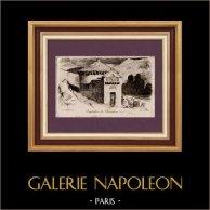 Baptistère de Chambon (France) | Gravure à l'eau-forte originale dessinée par C. Jaffeux. 1930