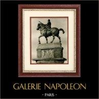 Sculpture Italienne - Statue Equestre en Bronze du Gattamelata (Donato di Niccolò di Betto Bardi - Donatello) | Héliogravure originale sur papier d'art. Anonyme. 1920