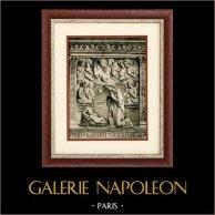 Sculpture Italienne - Bas Relief en Terre Cuite - La Vierge Adorant l'Enfant Jésus (Andrea della Robbia) | Héliogravure originale sur papier d'art. Anonyme. 1920