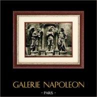 Italiensk Skulptur - Döpelse Kristus (Andrea Sansovino) - ängel (Innocenzo Spinazzi) | Original heliogravyr på konst pappers. Anonymt. 1920