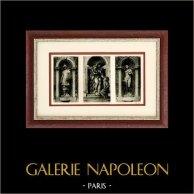 Scultura Italiana - Minerva - Apollo - Madonna col Bambino (Jacopo Sansovino) | Incisione heliogravure originale su carta d'arte. Anonima. 1920