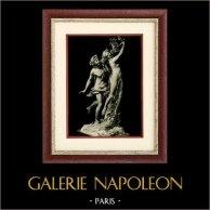 Escultura Italiana - Apolo y Dafne (Gian Lorenzo Bernini) | Original heliograbado sobre papel de arte. Anónimo. 1920