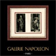 Italienischeskulptur - Glauben (Innocenzo Spinazzi) - Sibylle (Marchiori) | Original heliogravüre auf kunst papier. Anonyme. 1920