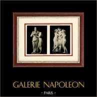 Sculpture Italienne - Groupes en Marbre - L'Amour et Psyché - Les Trois Grâces (Antonio Canova) | Héliogravure originale sur papier d'art. Anonyme. 1920