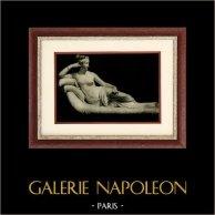 Escultura Italiana - Bonaparte Borghese : Hermana de Napoleón - Venus - Venere Vincitrice (Antonio Canova) | Original heliograbado sobre papel de arte. Anónimo. 1920