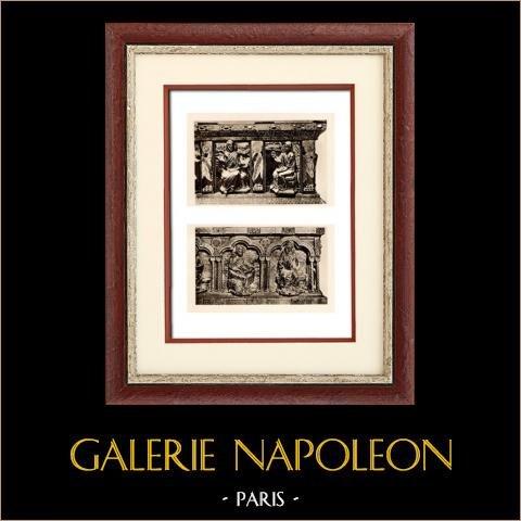 Belgisk Skulptur - Relikskrin (Godefroid de Claire - Nicolas de Verdun) | Original heliogravyr på konst pappers. Anonymt. 1920