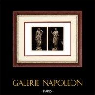 Escultura en Bélgica - Estatuas de Alabastro - Templanza - Prudencia (Jacques Du Broeucq) | Original heliograbado sobre papel de arte. Anónimo. 1920