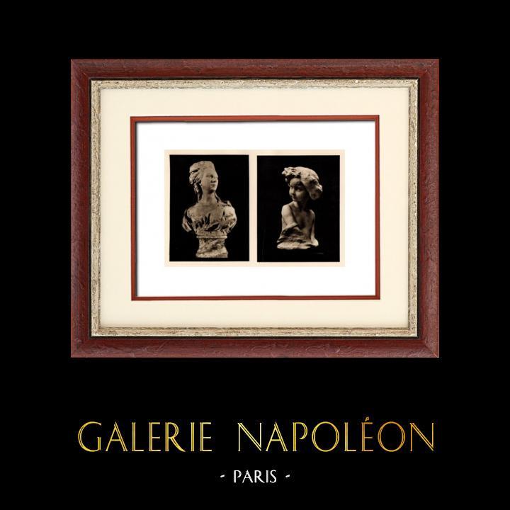 Gravures Anciennes & Dessins   Sculpture en Belgique - Buste de Femme (L. Godecharle) - Princesse Marie José de Belgique (Victor Rousseau)   Héliogravure   1920