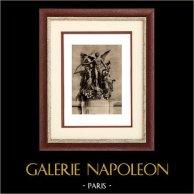 Scultura in Belgio - Gruppo Scultoreo - Glorificazione dell'Arte (Paul de Vigne) | Incisione heliogravure originale su carta d'arte. Anonima. 1920