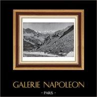Alpes Françaises - Vue Prise du Col du Vallon sur la Vallée Etroite | Typogravure originale de Le Monde Illustré. Anonyme. 1900