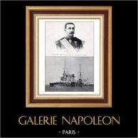 Armata Francese - Nave da Battaglia - Ammiraglio Gervais - Corazzata Le Bouvet | Typogravure originale da Le Monde Illustré. Anonima. 1900
