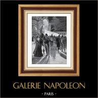 Fiesta por Noche en el Campo de Marte - Champs-de-Mars (París) | Original typogravure de Le Monde Illustré dibujado por Georges Revon. 1900