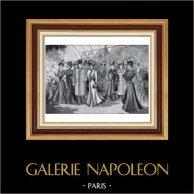 French Fashion Plate - French Fashion Print - Paris - 1900 - L'Exposition des Chrysanthèmes | Original typogravure from Le Monde Illustré drawn by Malharro. 1900