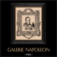 Ritratto - Accademia Francese - Historiador - Paul de Noailles | Incisione xilografica originale disegnata da Barabandy, incisa da Charles Decaux. 1885
