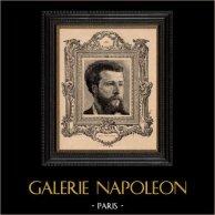 Portrait - Académie Française - Ecrivain dramatiste - Édouard Pailleron | Gravure sur bois originale dessinée par Barabandy, gravée par Charles Decaux. 1885