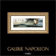 Barca a Vela - Veliero e Balena [34cm x 80cm] | Tavola su carta d'arte. Tiratura limitata, Alta Qualità. 1995