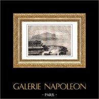 Vy över Palermo - Sicilien - Monte Pellegrino (Italien) | Original trästick efter teckningar av T. Taylor, graverade av Hildibrand. 1875