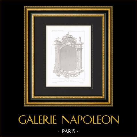 Gravure En Taille Douce 1868 Dessin Darchitecte Cadre De Miroir Xviiième Siècle Italie