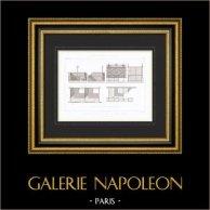 Desenho de Arquitecto - Butiquse do mercado - Tours - Loir-et-Cher - França (M. Guérin) | Gravura original em talho-doce sobre aço gravada por Maurage. 1870