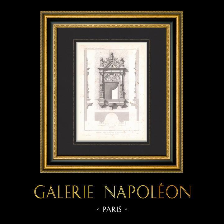Gravures Anciennes & Dessins | Dessin d'Architecte - Eglise d'Arques - Piscine - Pas-de-Calais (France) | Taille-douce | 1867