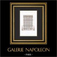Dessin d'Architecte - Maison de rapport - Immeuble - Avenue Duquesne - Paris (P. Vigouroux Architecte) | Gravure originale en taille-douce sur acier dessinée par Japhet, gravée par Maurage. 1870