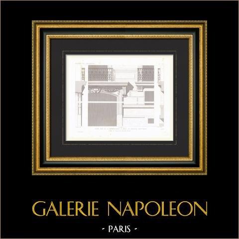 Bouwtekening - Bouwplan - Huis - Hotel - Rue de la Bienfaisance - Parijs (M. Davioud) |