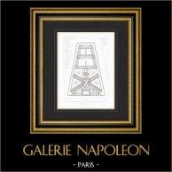 Disegno di Architetto - Carcere de La Santé - XIV Arrondissement di Parigi (E. Vaudremer) | Stampa calcografica originale a bulino su acciaio incisa da Lamy. 1868