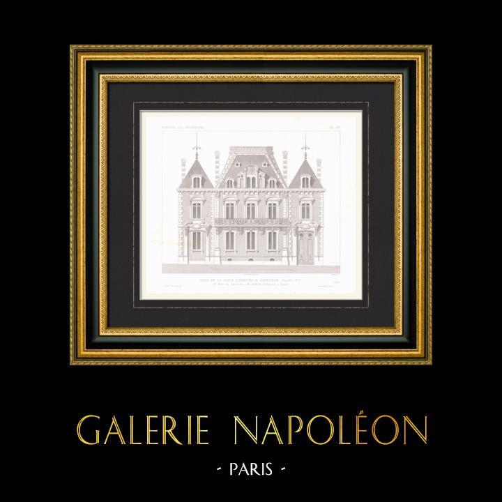 Gravures Anciennes & Dessins | Dessin d'Architecte - Hôtel de la Caisse d'Epargne - Abbeville - Somme - France (M. Simon Architecte) | Taille-douce | 1867