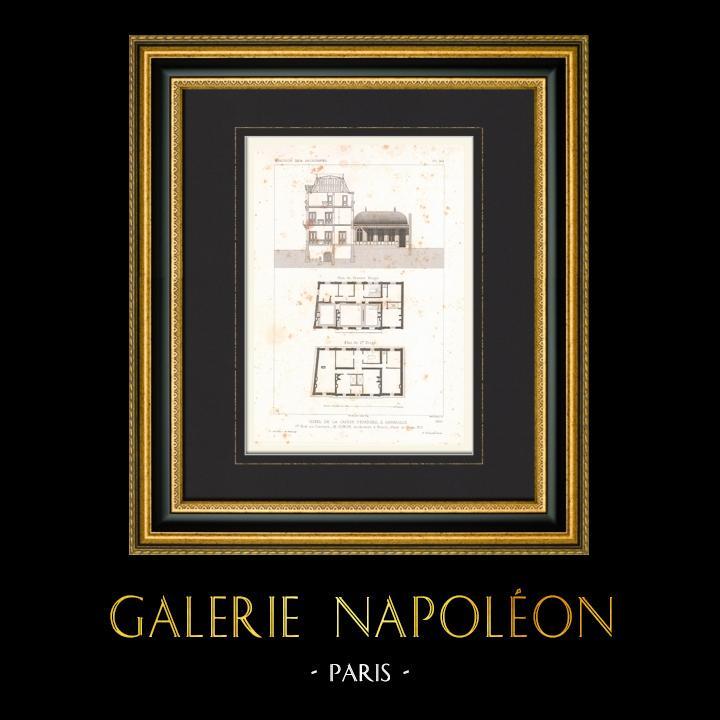 Antique Prints & Drawings | Architect's Drawing - Hôtel de la Caisse d'Epargne - Abbeville - Somme - France (M. Simon) | Intaglio print | 1867