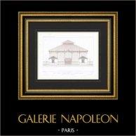 Ritning av Arkitekt - Marknad Grenelle - 15:a Arrondissementet Paris (A. Normand)