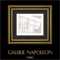 Dibujo de Arquitecto - Casa - Hotel de Príncipe Napoleón - Avenue Montaigne - Paris (A. Normand)