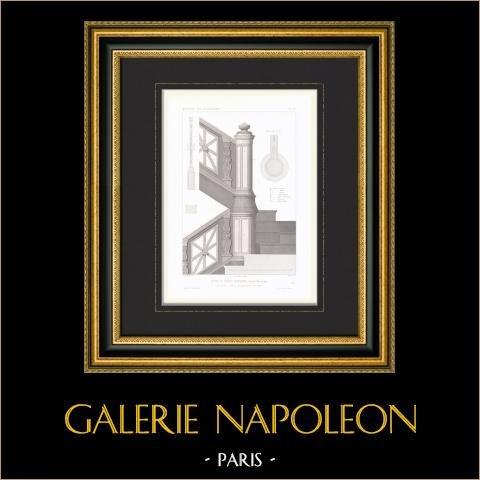 Architektenzeichnung - Haus - Hotel von Napoléon Joseph Charles Paul Bonaparte - Avenue Montaigne - Paris - Treppe | Original stahlstich gezeichnet von Normand, gestochen von Dijean. 1867