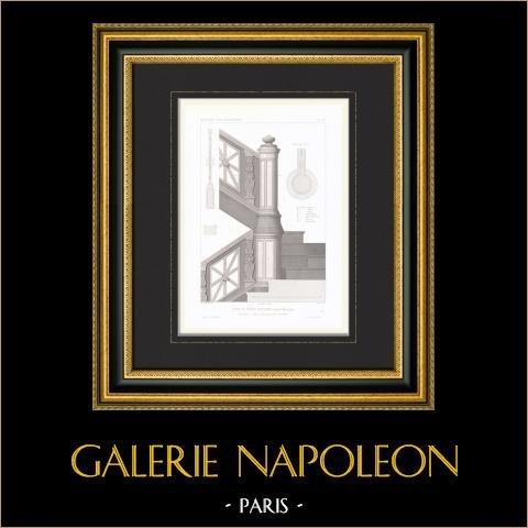 Bouwtekening - Bouwplan - Huis - Hotel van Prince Napoléon Bonaparte - Avenue Montaigne - Parijs - Trappen |