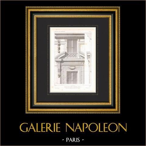 Desenho de Arquitecto - Casa - Rue Ollivier - Paris (M. Laurancy) | Gravura original em talho-doce sobre aço desenhada por Leblan, gravada por Penel. 1866