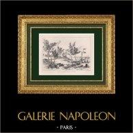 Bosque de Boulogne - Guerra Franco-Prusiana 1870 - Sitio de París - Paris (Francia) | Grabado xilográfico original dibujado por Morland. 1871