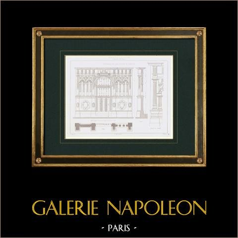 Ritning av Arkitekt - Notre-Dame i Laon - Aisne (Frankrike) | Original stålstick efter teckningar av Trumpf, graverade av Gibert. 1850