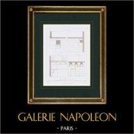 Architektenzeichnung - Rahmen - Ancien Collège de Bayeux - Rue de la Harpe - Paris (Frankreich)