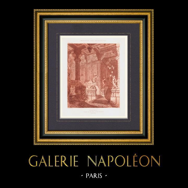 Gravures Anciennes & Dessins   Décoration - Un vestibule - Esquisse (L. Gosse peintre décorateur)   Taille-douce   1875
