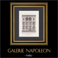 Architect's Drawing - Hotel - Parc Monceau - 8th Arrondissement of Paris (M. Pellechet) | Original steel engraving engraved by Sergent. 1875