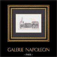 Architect's Drawing - Hotel de Ville de Paris - Project (M. Davioud) | Original steel engraving engraved by Martel. 1875