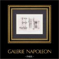 Dessin d'Architecte - Groupe scolaire - Rue Baudricourt - Paris (E. Cordier Architecte)   Gravure originale en taille-douce sur acier gravée par Hibon. 1875