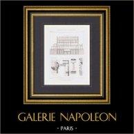 Dessin d'Architecte - Groupe scolaire - Rue Baudricourt - Paris (E. Cordier Architecte)   Gravure originale en taille-douce sur acier gravée par Martel. 1875