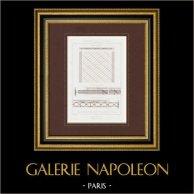 Disegno di Architetto - Pavimento in ferro (Cadiat e Oudry)   Stampa calcografica originale a bulino su acciaio disegnata da Lepine, incisa da Penel. 1853