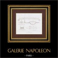 Disegno di Architetto - Passerelle - Ferrovia - Parigi-Sceaux (Francia) | Stampa calcografica originale a bulino su acciaio incisa da Roux. 1848