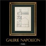 Disegno di Architetto - Asilo - XX Arrondissement di Parigi (M. Salleron)