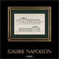 Dibujo de Arquitecto - Asilo - XX Distrito de París (M. Salleron)