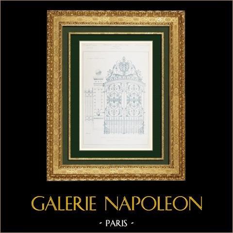 Desenho de Arquitecto - Portão de ferro forjado - Parque de um Hotel - Lyon - França (Adolphe Coquet) | Autogravura original gravada por Bessou. 1880
