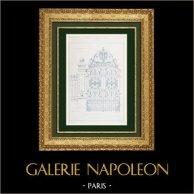 Dessin d'Architecte - Grille en fer forgé - Parc d'un hôtel particulier - Lyon - France (Adolphe Coquet Architecte) | Autogravure originale gravée par Bessou. 1880