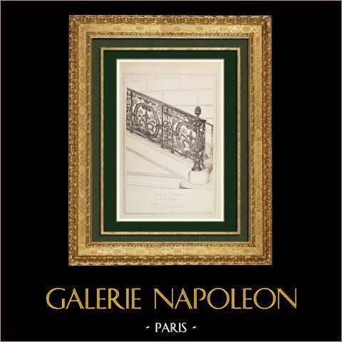 Architektenzeichnung - Kassationshof - Rampe aus Schmiedeeisen - Treppe - Paris (J.L. Duc) | Original autogravur gezeichnet von Duc, gestochen von Galliot. 1874